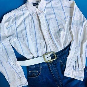 Vintage cream striped Western Style Shirt